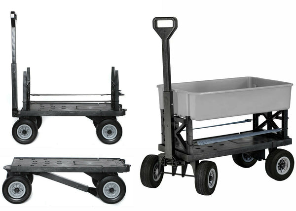 Garden Cart, Mighty Max Multi-Purpose Cart, Black Wheels 1 Silver Utility Tub