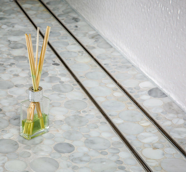 Side Outlet Linear Shower Drain, Tile Insert Design by SereneDrains