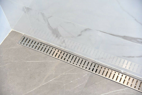 SereneDrains Linear Shower Drain with Hair Trap Set Wind Design