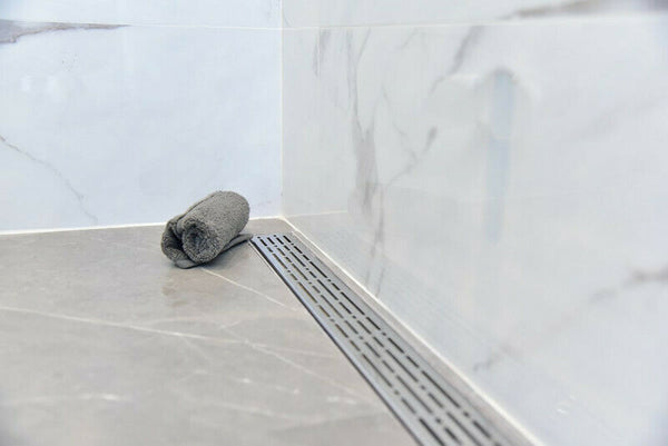 60 Inch Linear Drain with 2 Inch ABS Shower Drain Base Flange (6 Designs)