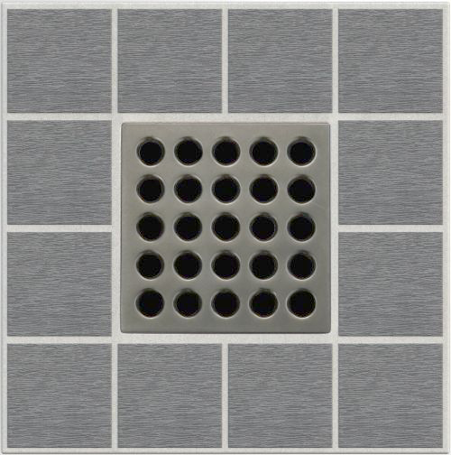 Ebbe E4405 Antique Pewter Square Shower Drain With Rough-in Adapter Kit