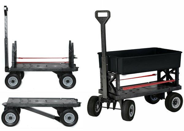 Garden Cart, Mighty Max Multi-Purpose Cart, Black Wheels 1 Black Utility Tub