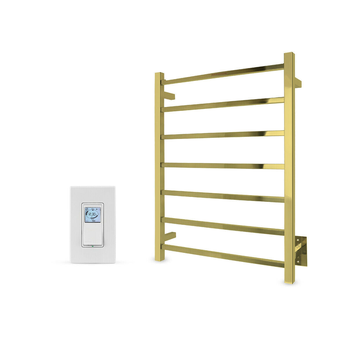 Gold Towel Warmer 7 Bars Hardwired With Programmable Timer, WarmlyYours Tahoe 7