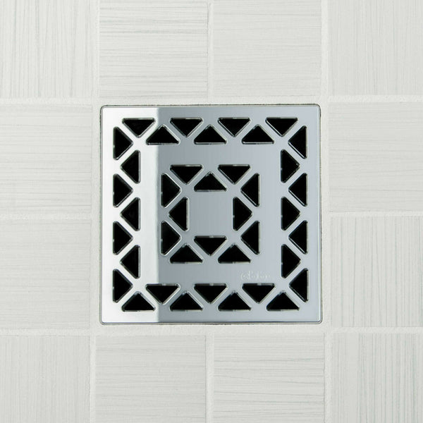 Ebbe E4802 Lattice Polished Chrome Square Shower Drain And Rough-in Adapter Kit