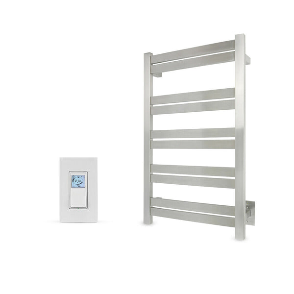 WarmlyYours Towel Warmer, Brushed, 10 Bars With Programmable Timer, Grande 10