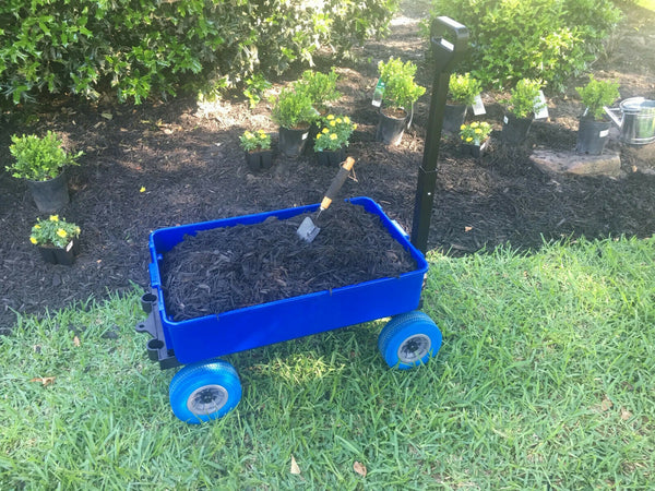 Garden Cart, Mighty Max Multi-Purpose Cart, Blue Wheels With 1 Blue Utility Tub