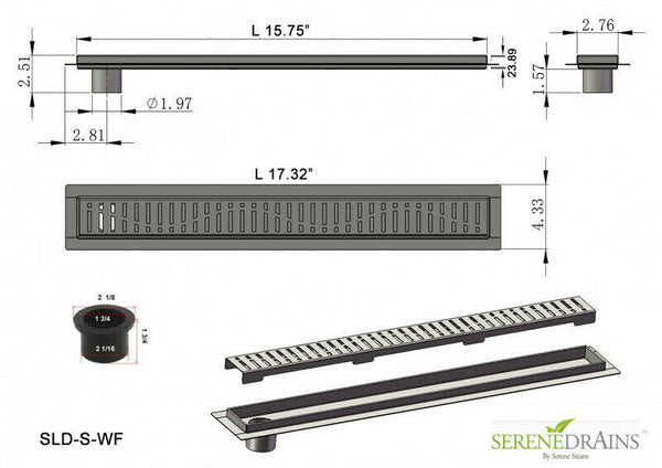 Side Outlet Linear Shower Drain, Wind Design by Serene Drains