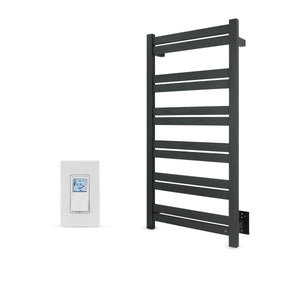 Black Towel Warmer Hardwired 12 Bars Programmable Timer, WarmlyYours Grande 12