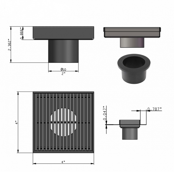 4 Inch Square Drain with Hair Trap, Wedge Design by Serene Drains