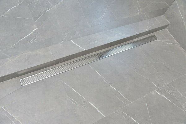 Side Outlet Linear Shower Drain, Linear Wedge Design by SereneDrains