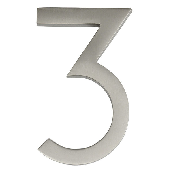 Copy of House Numbers, Frank Lloyd Wright 4 Inch Floating House Number Satin Nickel