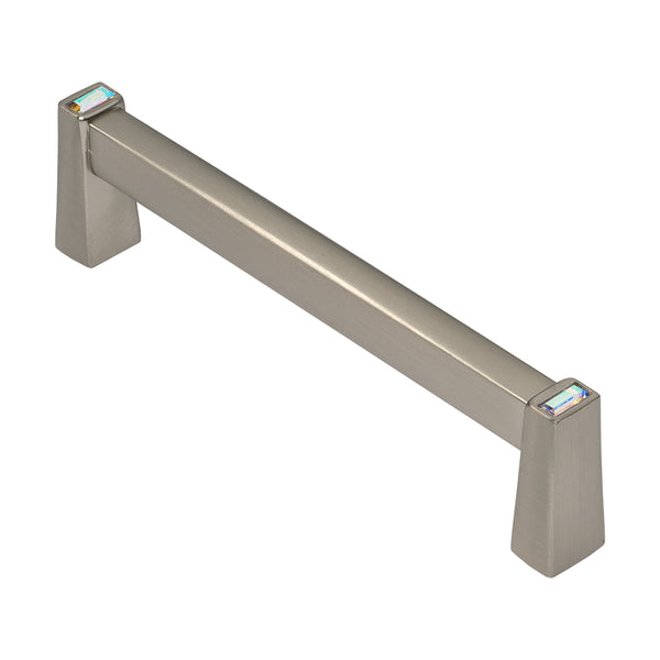 Satin Nickel 4 Inch Cabinet Pull With Crystal, Long Island by Wisdom Stone