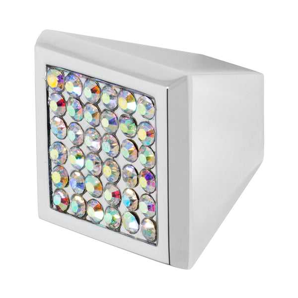 Wisdom Stone Marilyn Square Chrome Cabinet Knob With Crystal
