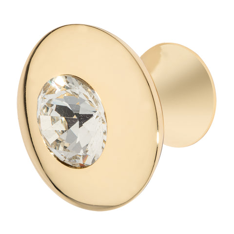 Round Polished Gold Cabinet Knob with Crystal, Felicia Knob by Wisdom Stone