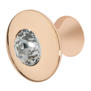Round Rose Gold Cabinet Knob with Crystal, Felicia Knob by Wisdom Stone