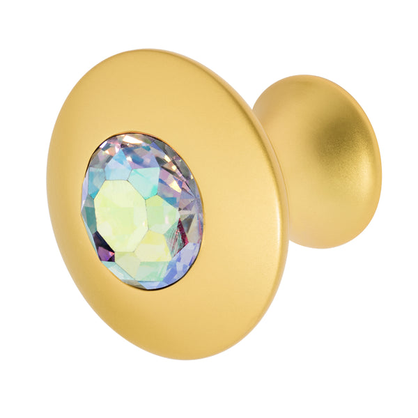 Round Satin Gold Cabinet Knob with Crystal, Felicia Knob by Wisdom Stone