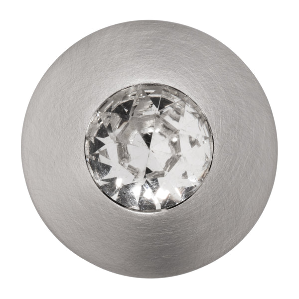 Round Satin Nickel Cabinet Knob with Crystal, Felicia Knob by Wisdom Stone