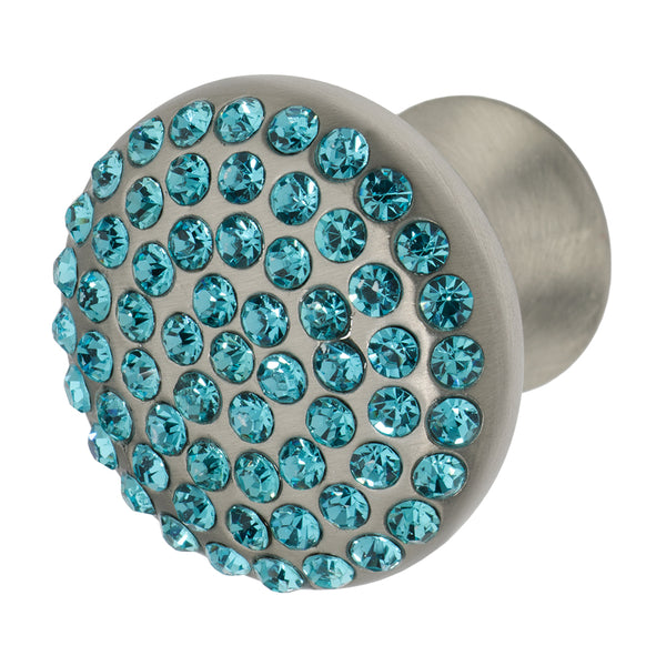 "Wisdom Stone Vivacite 1-1/4"" Satin Nickel Cabinet and Drawer Knob with Crystal"