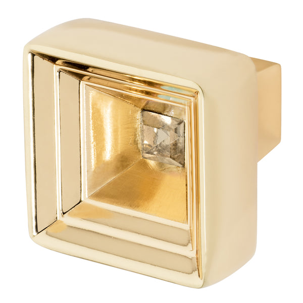 Polished Gold Knob With Crystal, Hidden Treasure by Wisdom Stone