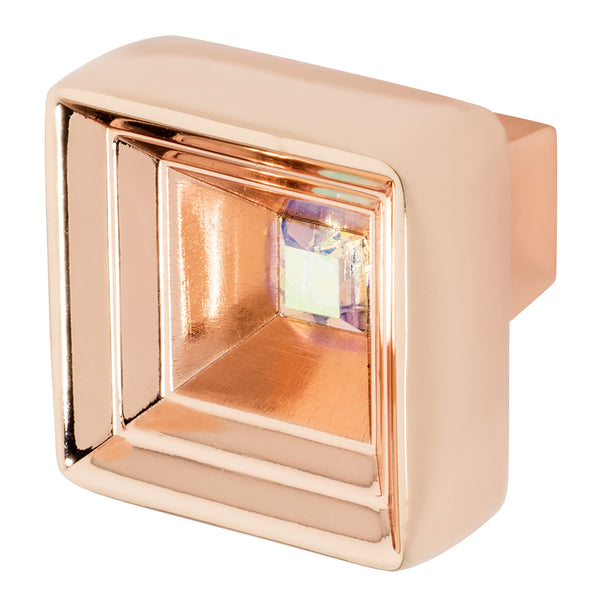 Rose Gold Cabinet Knob With Crystal, Hidden Treasure by Wisdom Stone