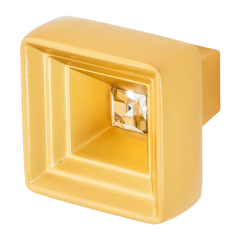 Satin Gold Cabinet Knob With Crystal, Hidden Treasure by Wisdom Stone