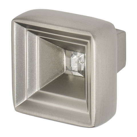 Satin Nickel Cabinet Knob With Crystal, Hidden Treasure by Wisdom Stone