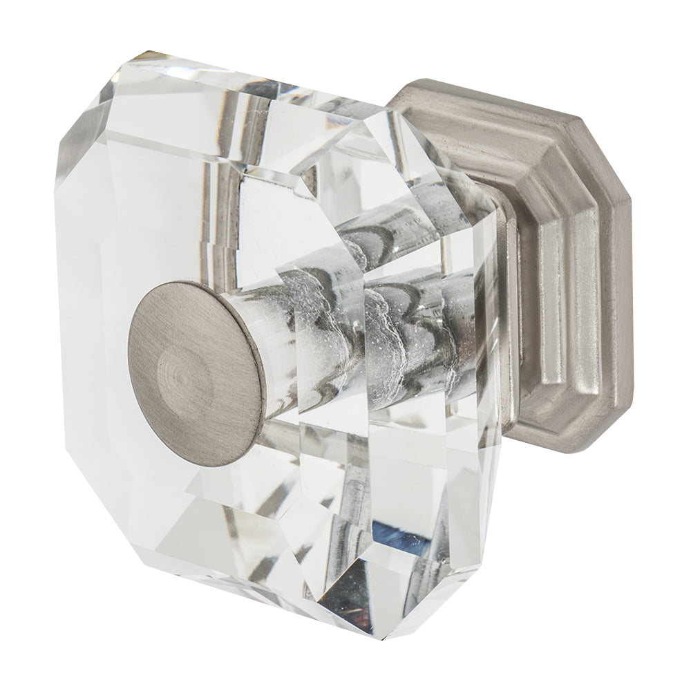 Wisdom Stone Clubhouse Satin Nickel Drawer and Cabinet Knob With Crystal