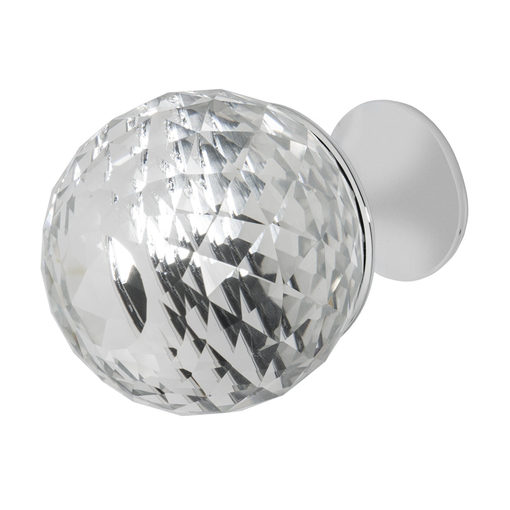 Wisdom Stone Rondure Polished Chrome Drawer and Cabinet Knob With Crystal