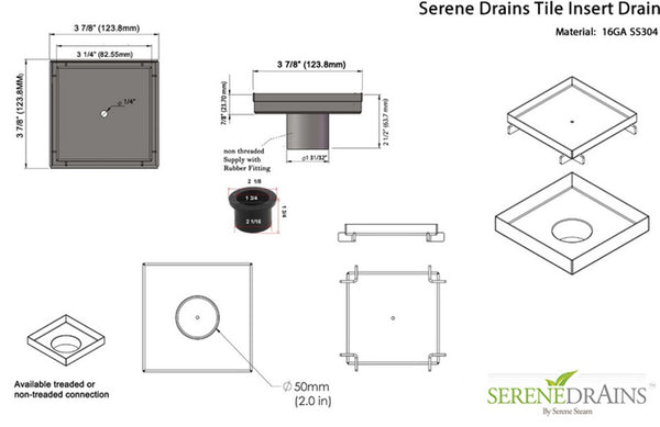 SereneDrains Tile Insert Threaded Square Shower Drain with Hair Trap Set (4 and 5 Inch Drains)