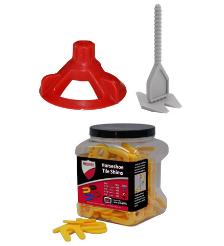 Spin Doctor Tile Leveling System with Horseshoe Tile Spacers 3/16 Inch Set