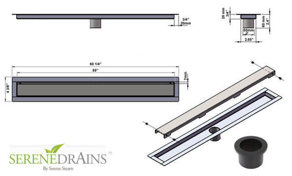 SereneDrains Invisible Slim Design 59 Inch Linear Shower Drain