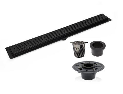 SereneDrains Complete Linear Drain Installation Kit: Matte Black Linear Drain Broken Lane Design, 2 Inch ABS Shower Drain Base, Hair trap.