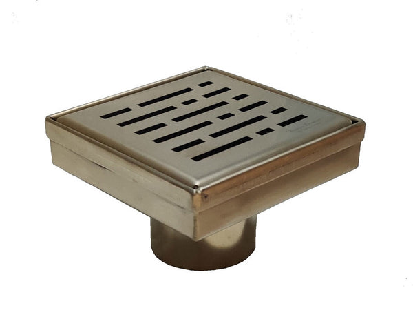 SereneDrains 4 inch Square Shower Drain Broken Lane Design Satin Gold Matte