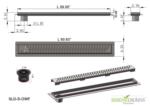60 Inch Side Outlet Linear Drain With Complete Installation Kit SereneDrains