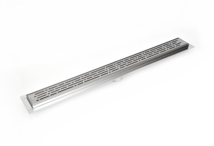Serene Drains 16 Inch Linear Drain Polished Chrome Broken Lane Design