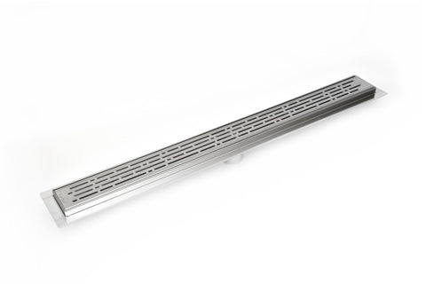 Serene Drains 35 Inch Linear Drain Polished Chrome Broken Lane Design