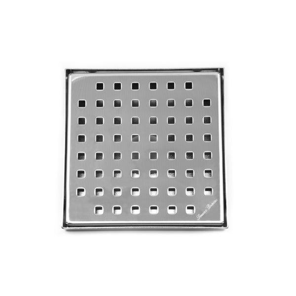 SereneDrains 6 inch Square Shower Drain Traditional Square Design Polished Chrome