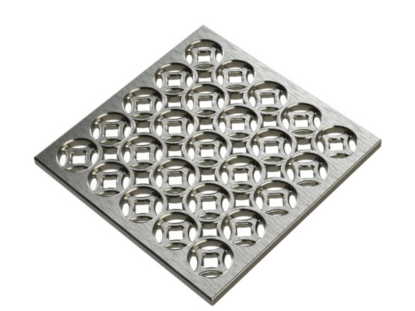Square Shower Drain Assembly Kit With Lattice Pattern, Brushed Stainless Steel Grate Cover, WarmlyYours Pro GEN II