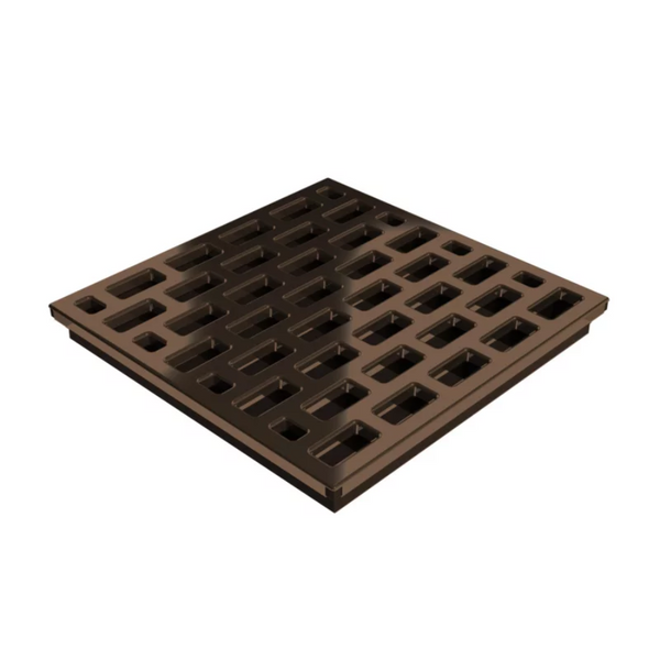 Square Shower Drain Assembly Kit With Brick Pattern Copper Finish Grate Cover, WarmlyYours Pro GEN II