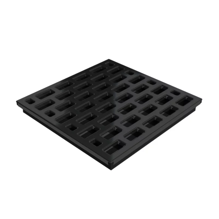 Square Shower Drain Assembly Kit With Brick Pattern Matte Black Grate Cover, WarmlyYours Pro GEN II