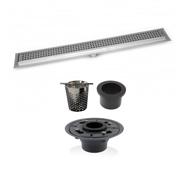 SereneDrains 48 Inch Linear Shower Drain, 2 Inch ABS Shower Drain Base, Hair trap (6 Designs)