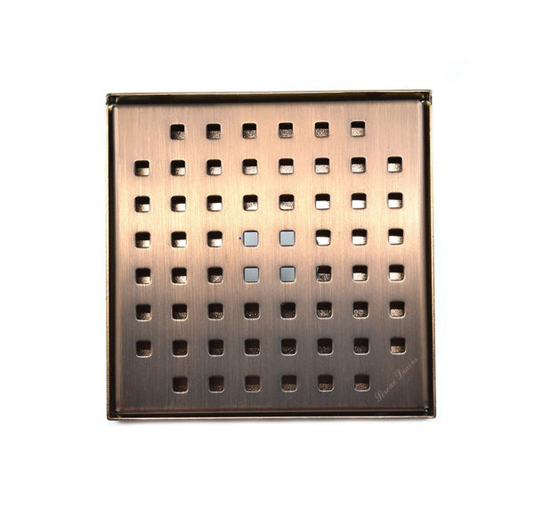 6 Inch Oil Rubbed Bronze Square Shower Drain with Hair Trap Set (2 Designs)