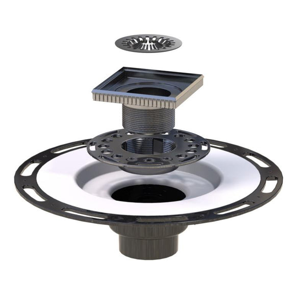 Square Shower Drain Assembly Kit With Bubbles Pattern, Brushed Stainless Steel Grate Cover, WarmlyYours Pro GEN II