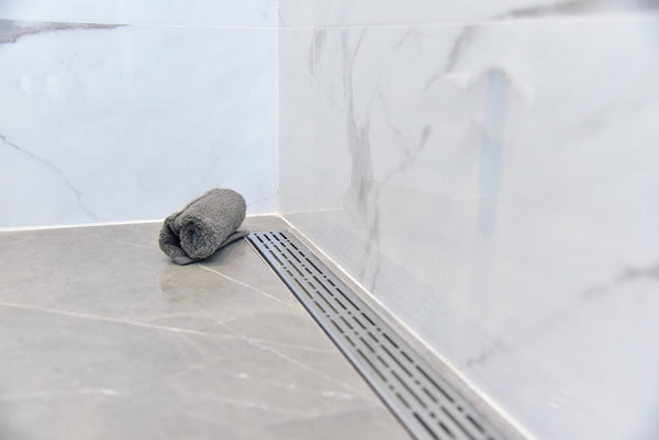 Side Outlet 48 Inch Linear Drain Complete Installation Kit SereneDrains