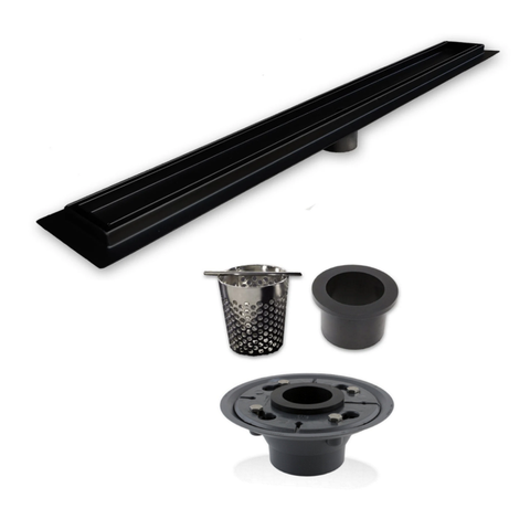 SereneDrains Linear Drain Installation Kit: Matte Black Tile Insert Linear Drain, 2 Inch ABS Shower Drain Base, Hair trap