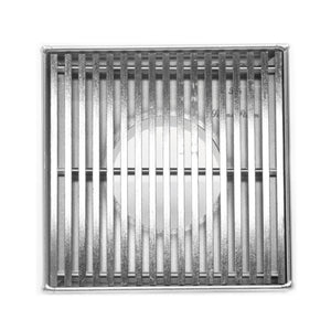 SereneDrains 4 inch Square Shower Drain Wedge Design Polished Chrome