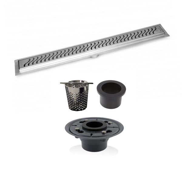 SereneDrains 16 Inch Linear Shower Drain, 2 Inch ABS Shower Drain Base, Hair trap (6 Designs)