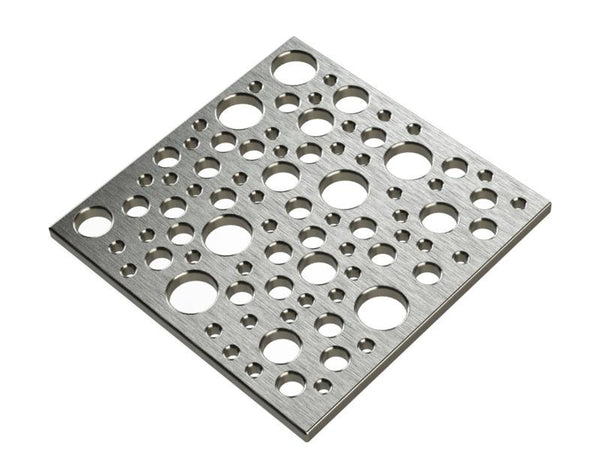 Square Shower Drain Assembly Kit With Bubbles Pattern, Polished Stainless Steel Grate Cover, WarmlyYours Pro GEN II