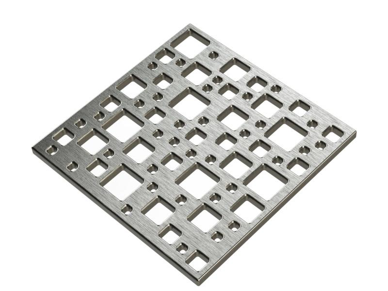 Square Shower Drain Assembly Kit With Destil Pattern, Polished Stainless Steel Grate Cover, WarmlyYours Pro GEN II