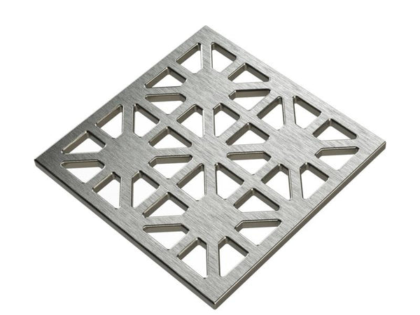 Square Shower Drain Assembly Kit With Obelix Pattern, Polished Stainless Steel Grate Cover, WarmlyYours Pro GEN II